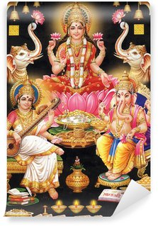 Wall Mural - Vinyl INDIAN GODESS MAA LAKSHMI WITH MAA SARASWATI AND GANESH JI