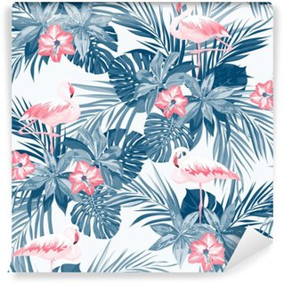 Indigo tropical summer seamless pattern with flamingo birds and exotic flowers Wall Mural - Vinyl