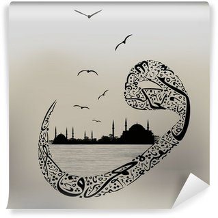 Istanbul mosques with calligraphy and letter vav Wall Mural - Vinyl