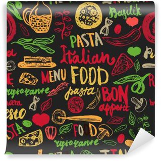 Italian food Seamless Background with Various Groceries: Pasta, Vegetables, pizza and Mushrooms