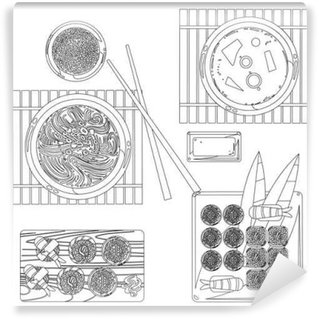 Japanese food vector contour drawing in black and white Wall Mural - Vinyl