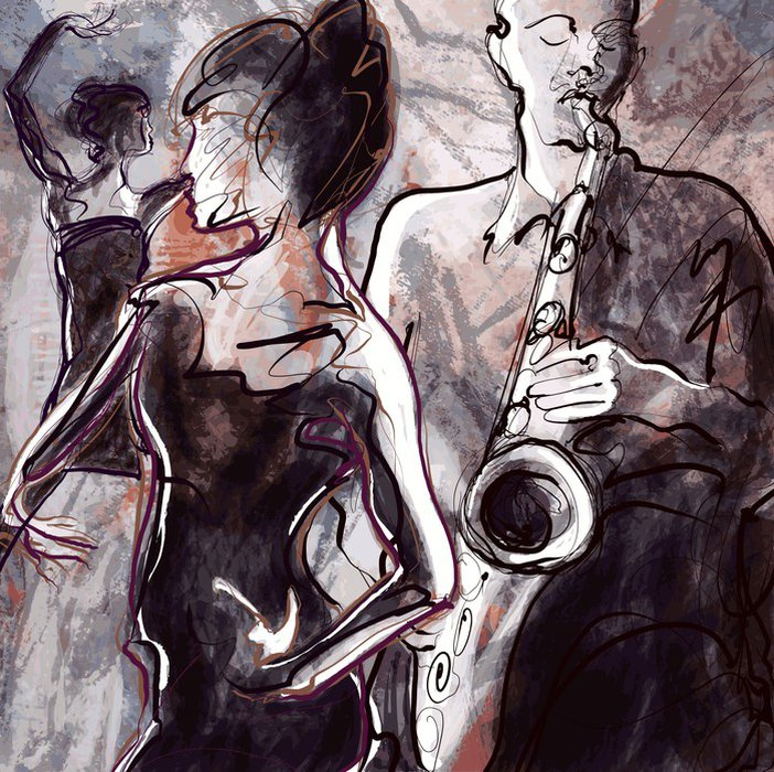 Wall Mural - Vinyl Jazz band with dancers - Jazz