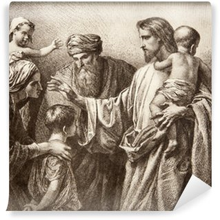 Wall Mural - Vinyl Jesus and children - engraving