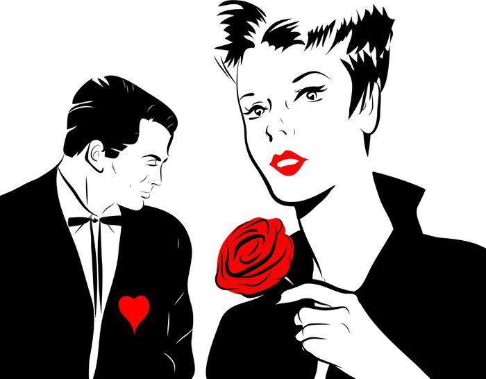 jeune femme amoureuse rose rouge homme coeur