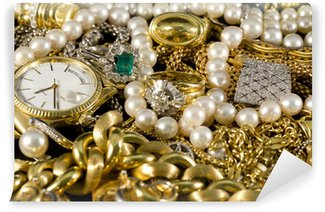 Wall Mural - Vinyl Jewelry, gold, necklaces, rings, bracelets, watch, wealth