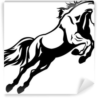 Wall Mural - Vinyl jumping horse black white