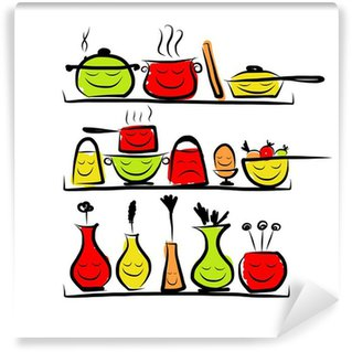 Kitchen Utensils Characters On Shelves Sketch Drawing For Your Vinyl Wall Mural