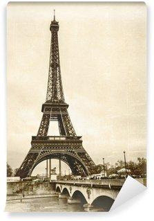 Wall Mural - Vinyl La tour eiffel sépia effet ancienne photo carte postale