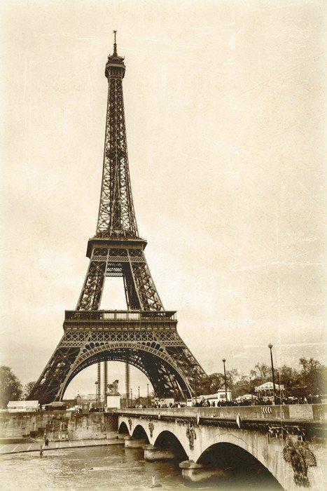 La tour eiffel s pia effet ancienne photo carte postale for Presentoir carte postale mural