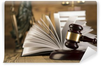 Wall Mural - Vinyl Lady of justice, wooden & gold gavel and books on wooden table