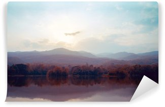 Wall Mural - Vinyl Landscape of lake mountains in autumn - vintage styles.