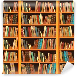 Bookcase vinyl wall murals pixers we live to change for Bookcase wall mural