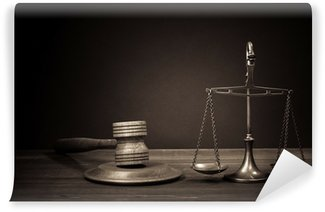 Wall Mural - Vinyl Law scales, judge gavel on table. Symbol of justice