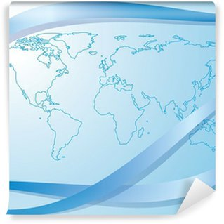 light blue background with contour of world map - vector Wall Mural - Vinyl