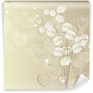 Light grey background with lily of the valley Wall Mural - Vinyl