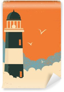 Lighthouse retro poster on old paper Wall Mural - Vinyl