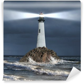 Lighthouse with a beam of light Wall Mural - Vinyl
