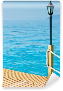 Wall Mural - Vinyl lighting pole on a wooden pier