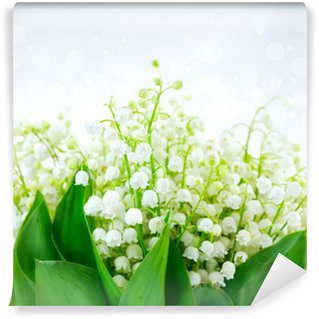 Lily-of-the-valley Flower Design. Bunch of White Spring Flowers Wall Mural - Vinyl