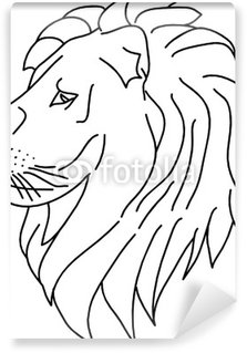 lion head isolated on white background Wall Mural - Vinyl