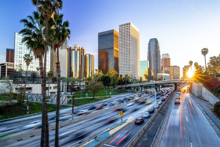 Wall Mural - Vinyl Los Angeles downtown buildings skyline highway traffic - American Cities