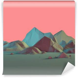 Low-Poly 3D Mountain Landscape with Pastels Wall Mural - Vinyl