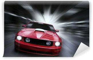 Wall Mural - Vinyl Luxury red sport car speeding in a underground parking