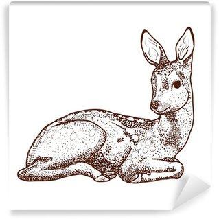 Lying cartoon deer Wall Mural - Vinyl