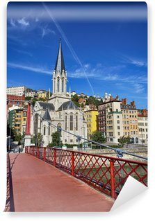 Lyon city with famous red footbridge Wall Mural - Vinyl