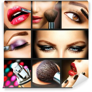 Wall Mural - Vinyl Makeup Collage. Professional Make-up Details. Makeover