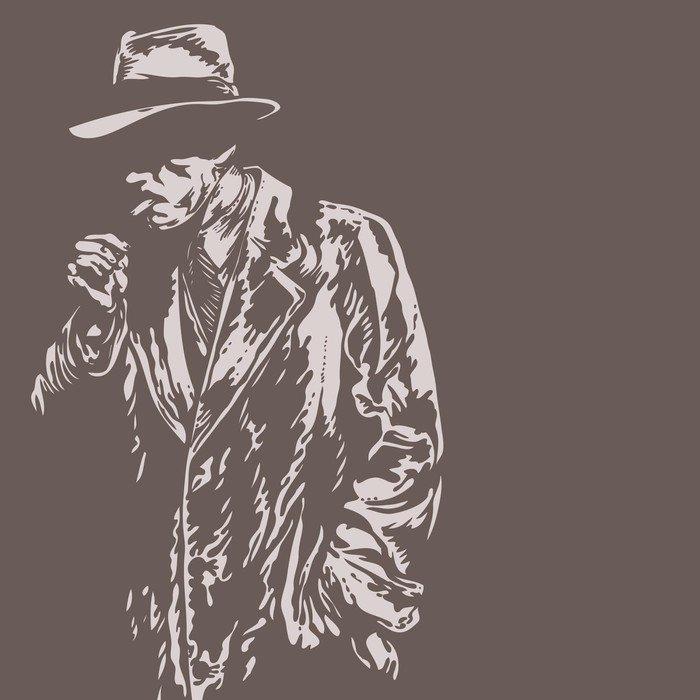 Wall Mural - Vinyl man in hat, graffiti style, vector illustration - Destinations