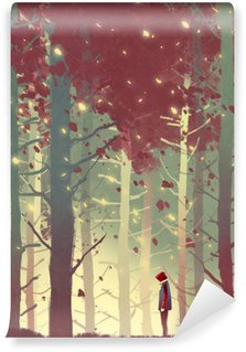 Vinyl Wall Mural man standing in beautiful forest with falling leaves,illustration painting