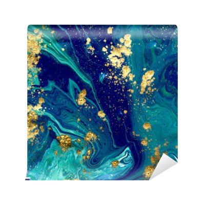 Marbled Blue Abstract Background Liquid Marble Pattern