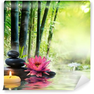 Wall Mural - Vinyl massage in nature - lily, stones, bamboo - zen concept