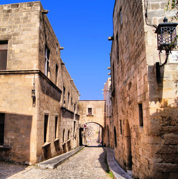 Medieval Street of the Knights, Old Town of Rhodes, Greece ...