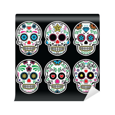 Mexican sugar skull dia de los muertos icons set on black for Dia de los muertos mural