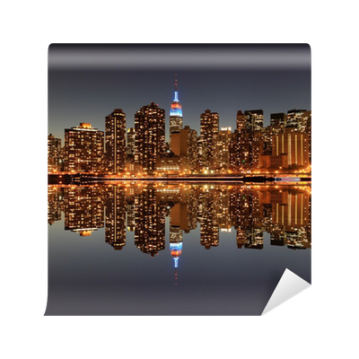 Midtown manhattan skyline at night lights new york city for City lights mural