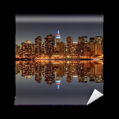 Midtown manhattan skyline at night lights new york city for City lights mural