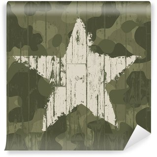 Vinyl Wall Mural Military camouflage background with star. Vector, EPS10.