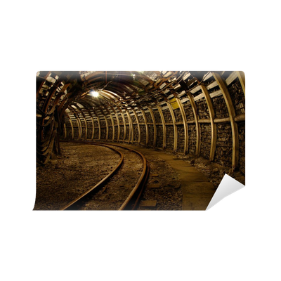 Mine underground corridor vinyl wall mural pixers we for Decor mural underground