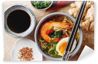 Wall Mural - Vinyl Miso Ramen Asian noodles with egg, shrimp, green onions, chili p