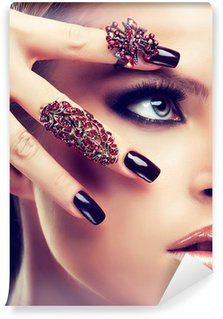 Wall Mural - Vinyl Model with burgundy manicure and fashion rings