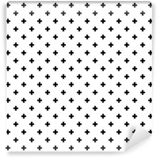 Wall Mural - Vinyl Monochrome, black and white abstract crosses seamless pattern background.