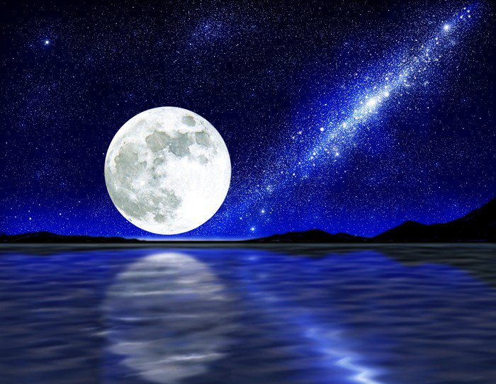 Moon over water wall mural vinyl pixers we live to for Blue moon mural