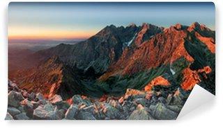 Vinyl Wall Mural Mountain sunset panorama from peak - Slovakia Tatras