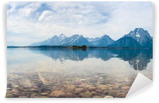 Mountain top reflections on the lake Vinyl Wall Mural