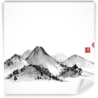 Vinyl Wall Mural Mountains hand drawn with ink on white background. Contains hieroglyphs - zen, freedom, nature, clarity, great blessing. Traditional oriental ink painting sumi-e, u-sin, go-hua.
