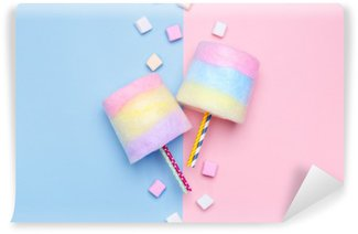 Multicolored Cotton candy. Pastel marshmallows. Minimal style. Pastel background Vinyl Wall Mural