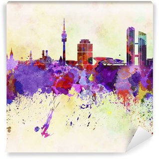 Munich skyline in watercolor background