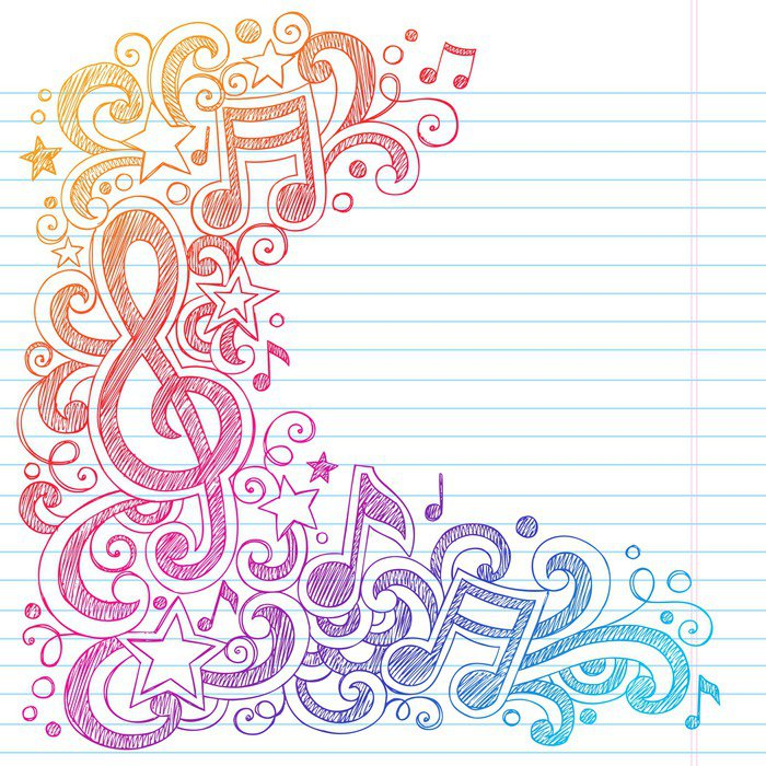 Music notes g clef sketchy doodles vector vinyl wall mural for Mural vector